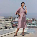 Dual-shades-Box-pleated-Eri-silk-dress---Kiniho1