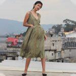 Olive green pleated dress - KINIHO
